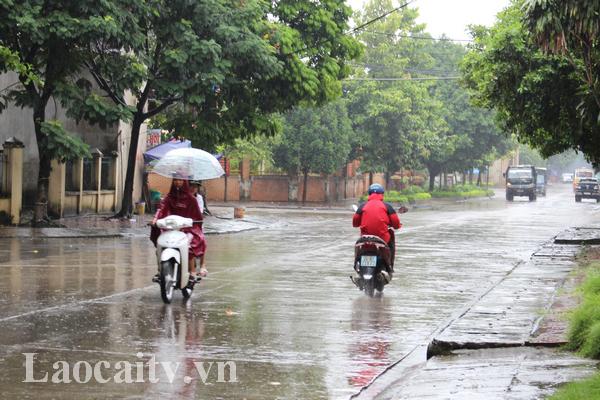 Ngày và đêm 15/8, Lào Cai sẽ có mưa to và dông mạnh.