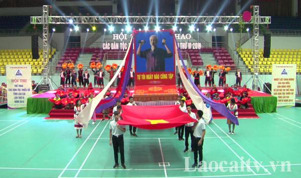 Lào Cai tổng duyệt chương trình khai mạc Hội thi thể thao các dân tộc thiểu số tỉnh Lào Cai tối 7/8.